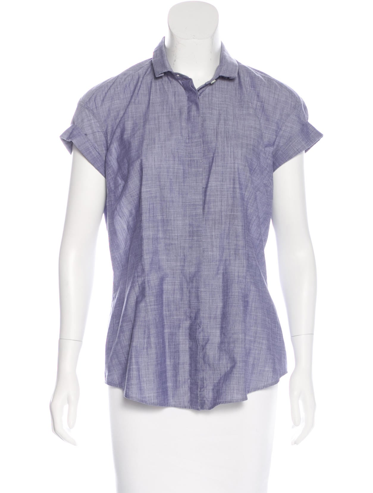 Brunello cucinelli monili embellished chambray top for Chambray top