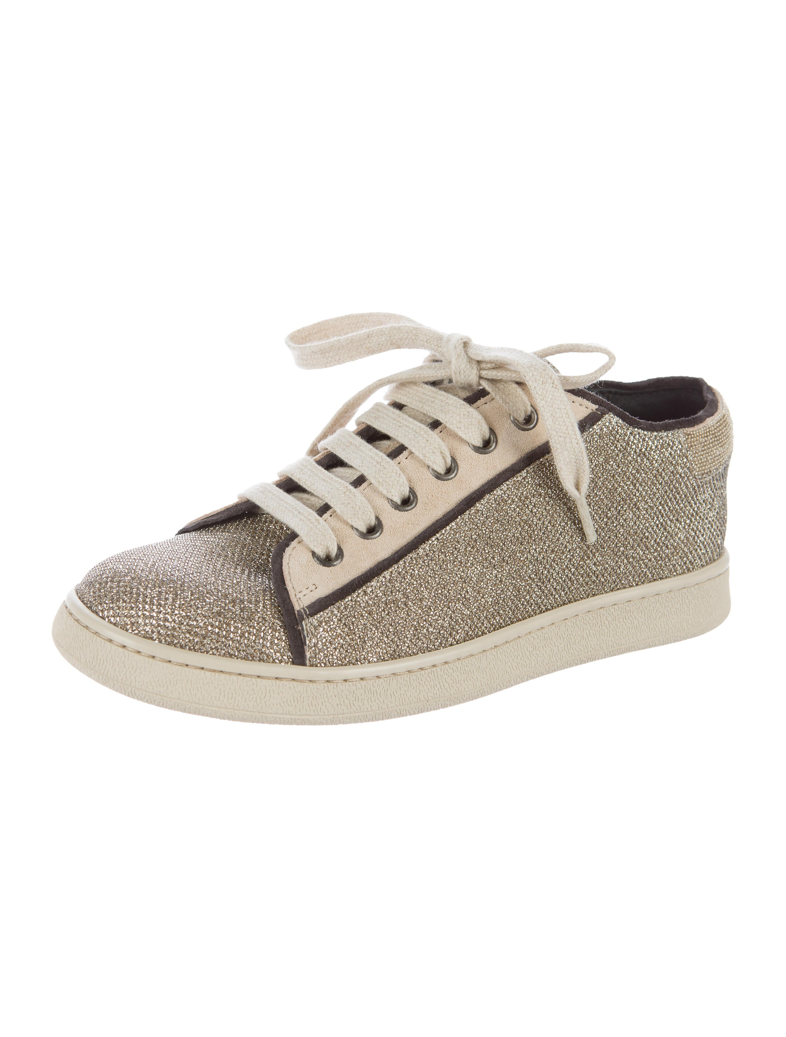 Brunello Cucinelli Monili-Trimmed Glitter Sneakers discount 2014 unisex ESxR3fy