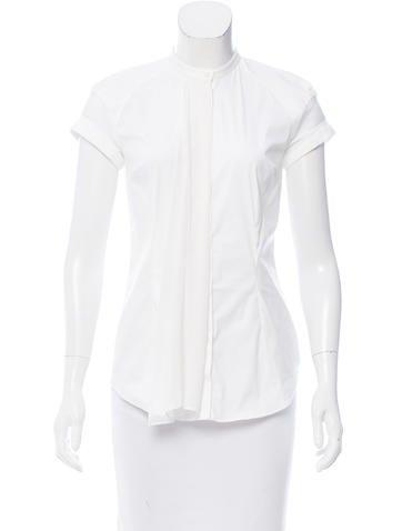Brunello Cucinelli Silk-Trimmed Button-Up Top None