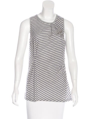 Brunello Cucinelli Striped Embroidered Top None