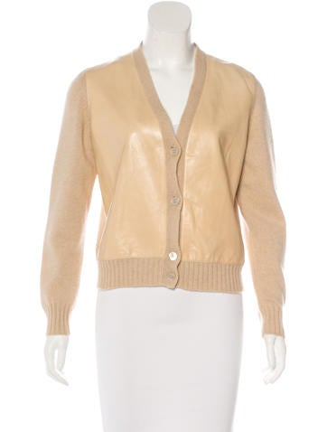 Brunello Cucinelli Cashmere Leather-Trimmed Cardigan w/ Tags None
