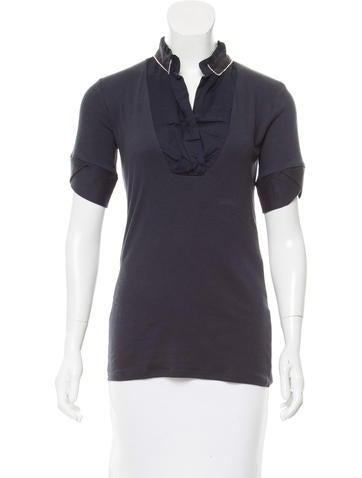 Brunello Cucinelli Monili-Trimmed Short Sleeve Top None