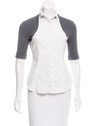 Brunello Cucinelli Knit Trim Button-Up Top None