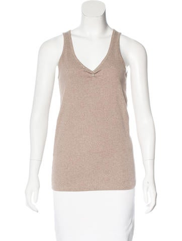 Brunello Cucinelli Monili-Trimmed Sleeveless Top None
