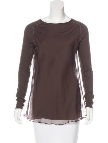 Brunello Cucinelli Silk Monili-Trimmed Sweater None