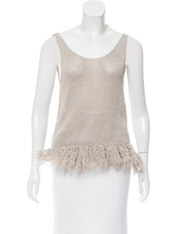 Brunello Cucinelli Fringe-Accented Sleeveless Sweater w/ Tags None