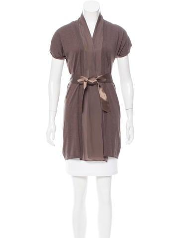 Brunello Cucinelli Silk-Trimmed Short Sleeve Cardigan None