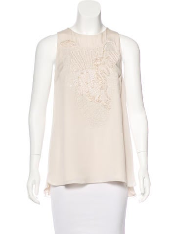 Brunello Cucinelli Silk Embellished Top w/ Tags None