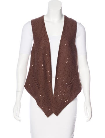 Brunello Cucinelli Cashmere-Blend Embellished Vest w/ Tags None