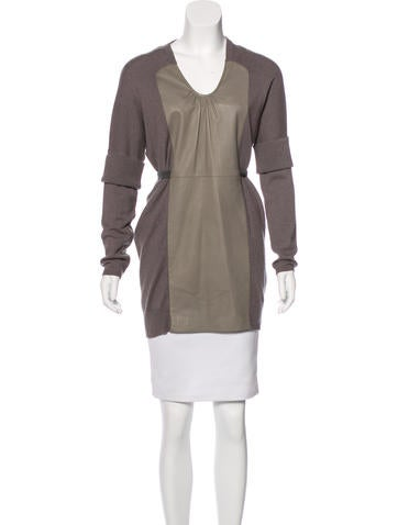 Brunello Cucinelli Cashmere Leather-Paneled Tunic None