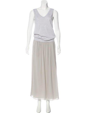 Brunello Cucinelli Silk-Trimmed Maxi Dress None