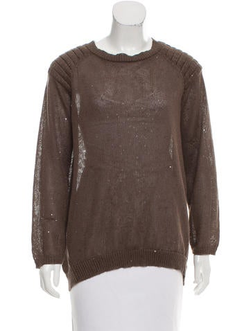 Brunello Cucinelli Sequined High-Low Sweater None