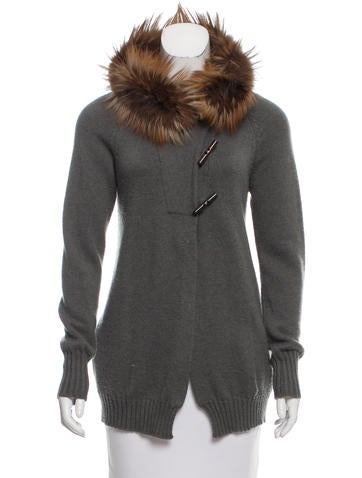 Brunello Cucinelli Fox Fur-Trimmed Cashmere Cardigan None