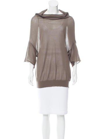 Brunello Cucinelli Semi-Sheer Cowl Neck Sweater None