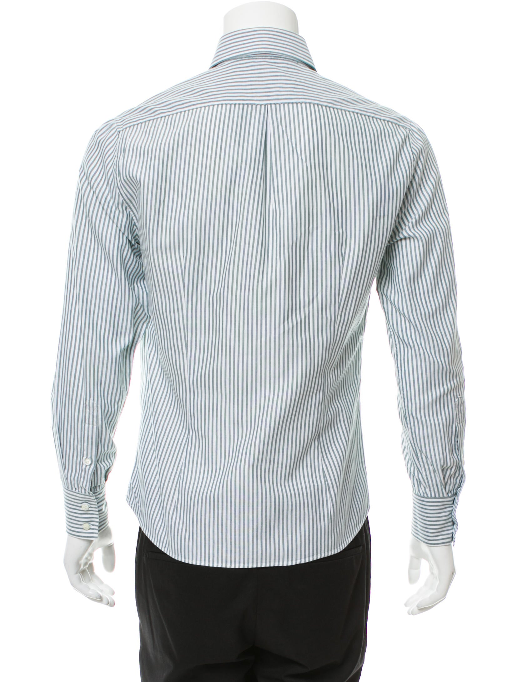Brunello cucinelli striped button up shirt clothing for Striped button up shirt mens