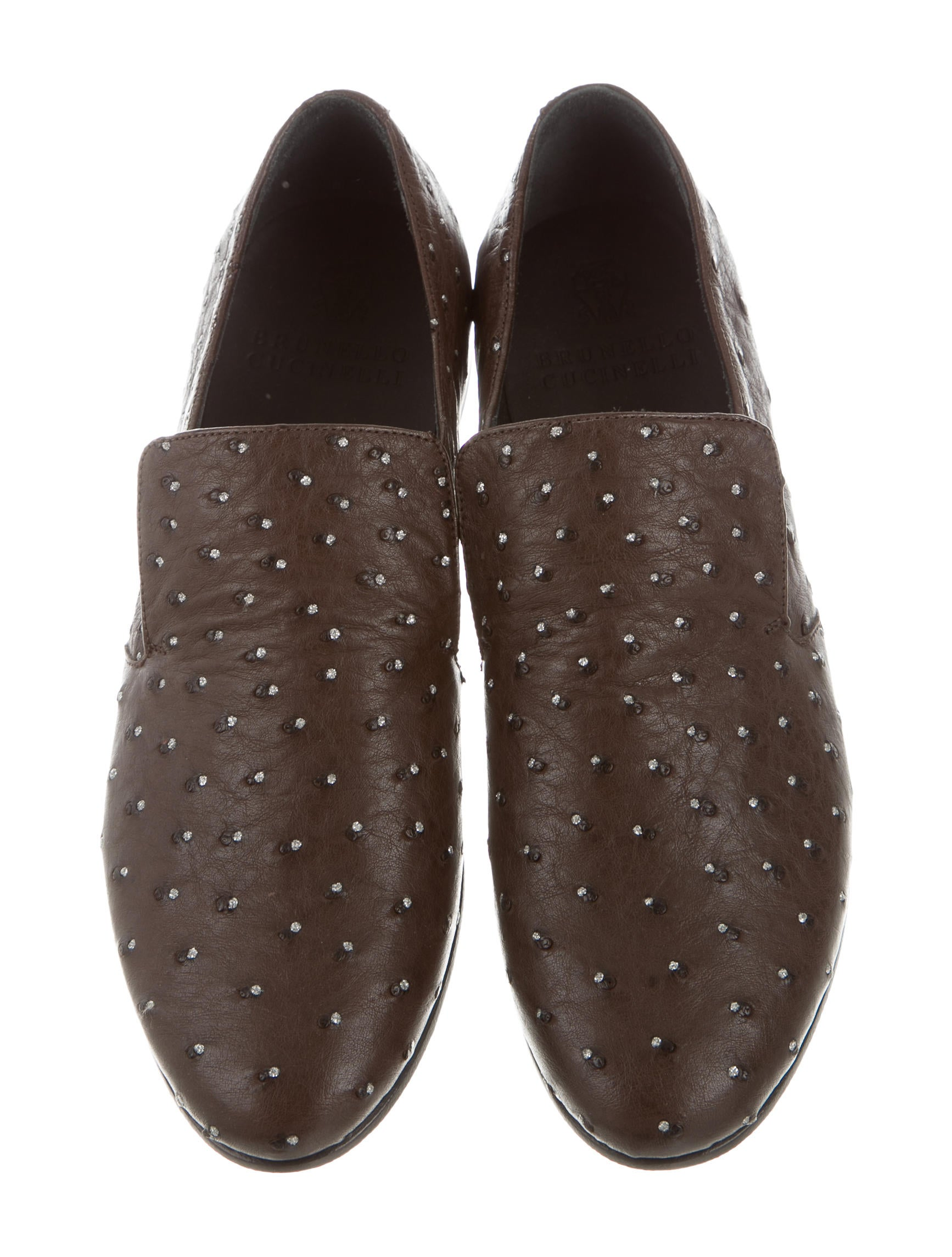 Brunello Cucinelli Ostrich Round-Toe Loafers w/ Tags clearance best place tl0Vbq
