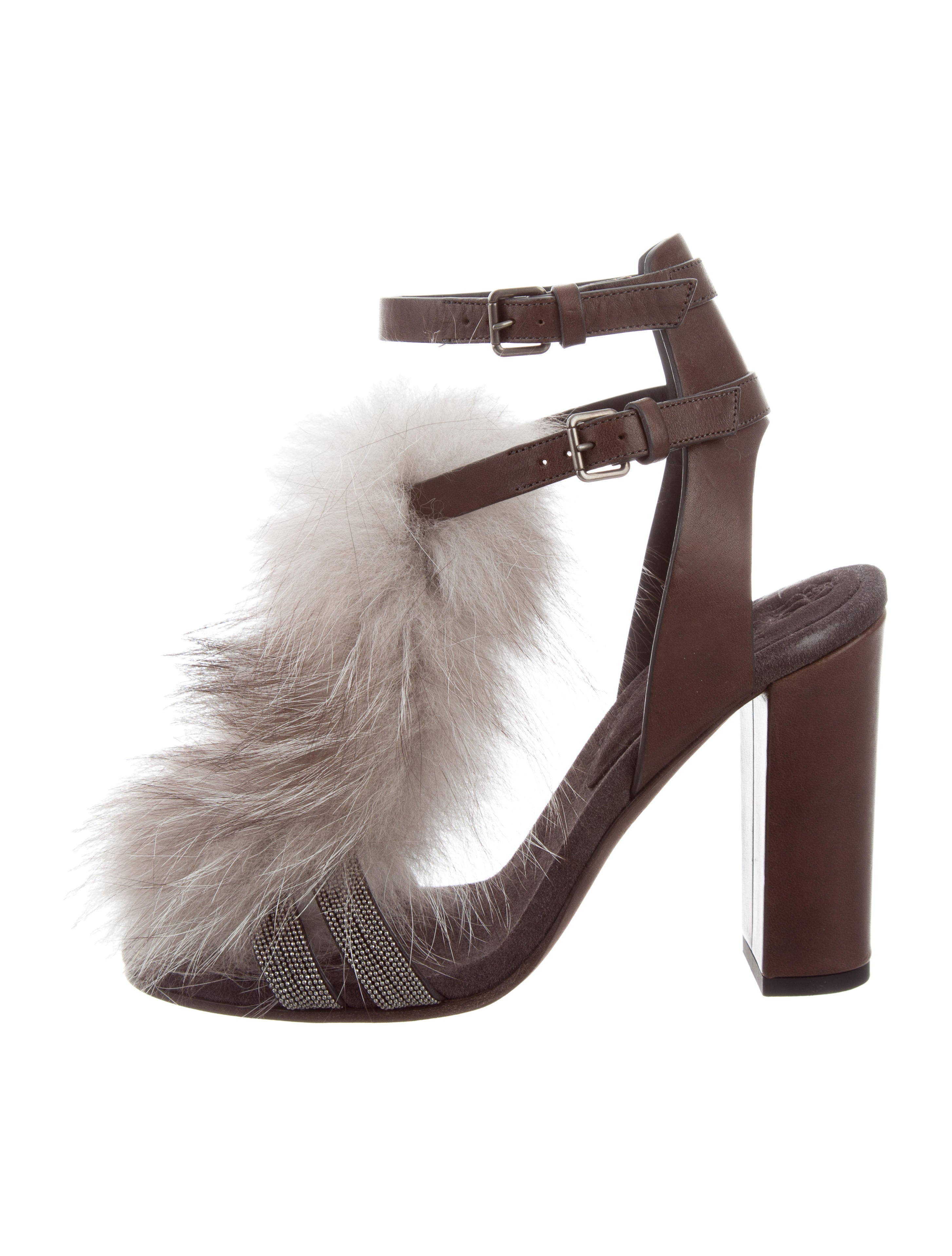 cheap 100% original outlet get authentic Brunello Cucinelli Monili Mink Fur-Accented Sandals buy cheap pre order cheap nicekicks 2015 cheap online VP4qkI