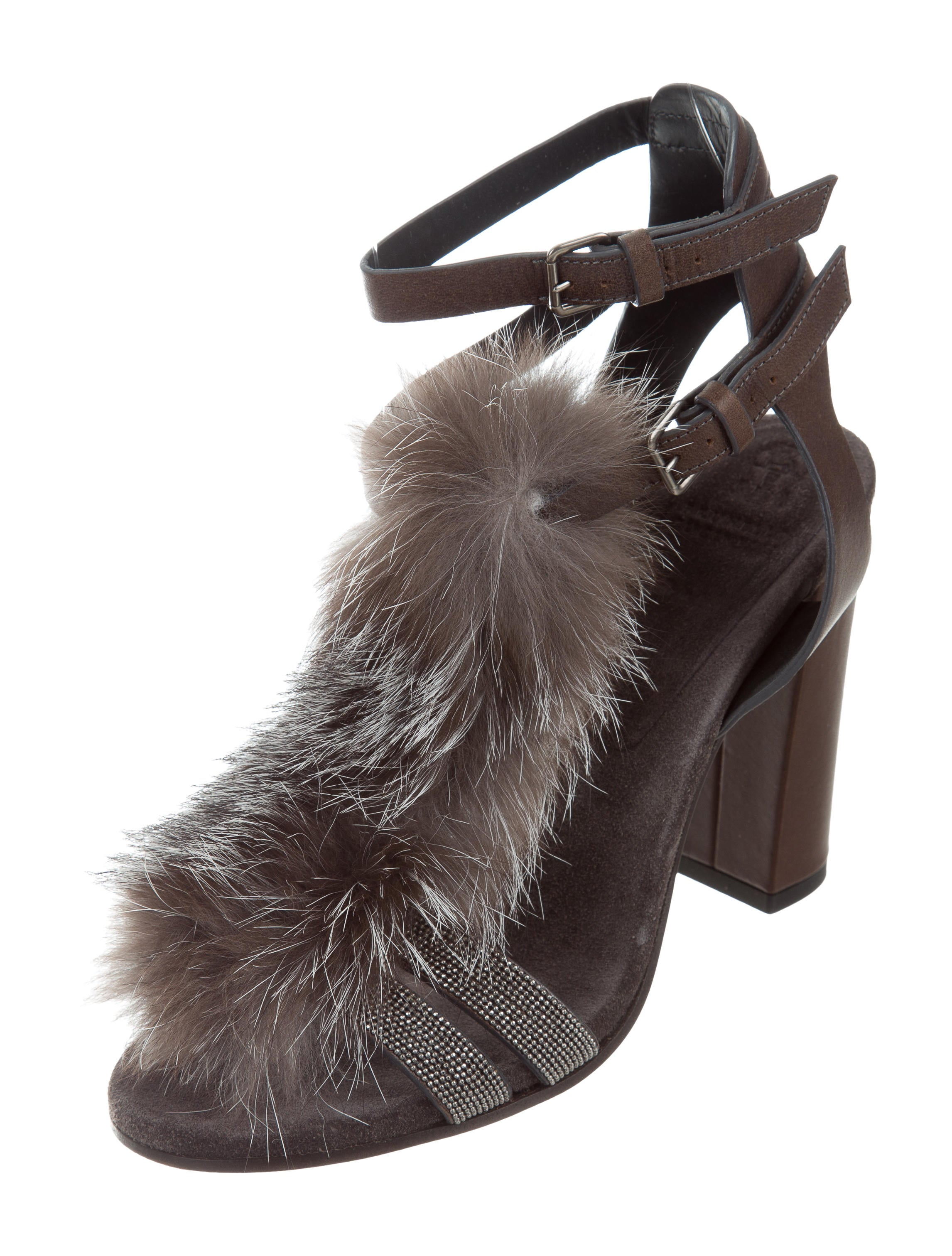 Brunello Cucinelli Fur-Trimmed Monili Sandals w/ Tags buy cheap largest supplier fake cheap price buy cheap many kinds of cheap price discount authentic rgyGbRjD