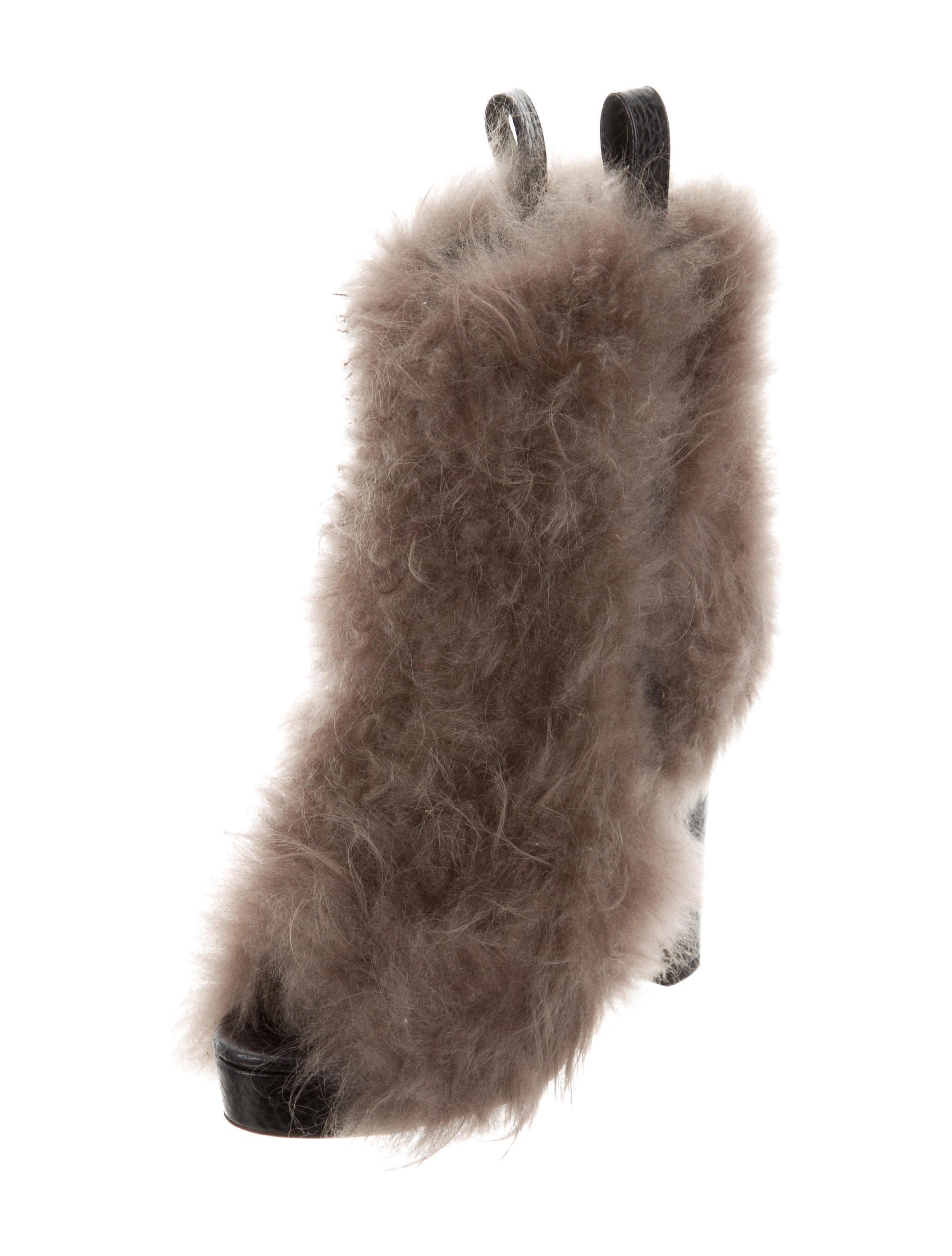 cheap sale eastbay footlocker pictures Brunello Cucinelli Shearling Peep-Toe Booties w/ Tags shop cheap online Bu6ziuNV