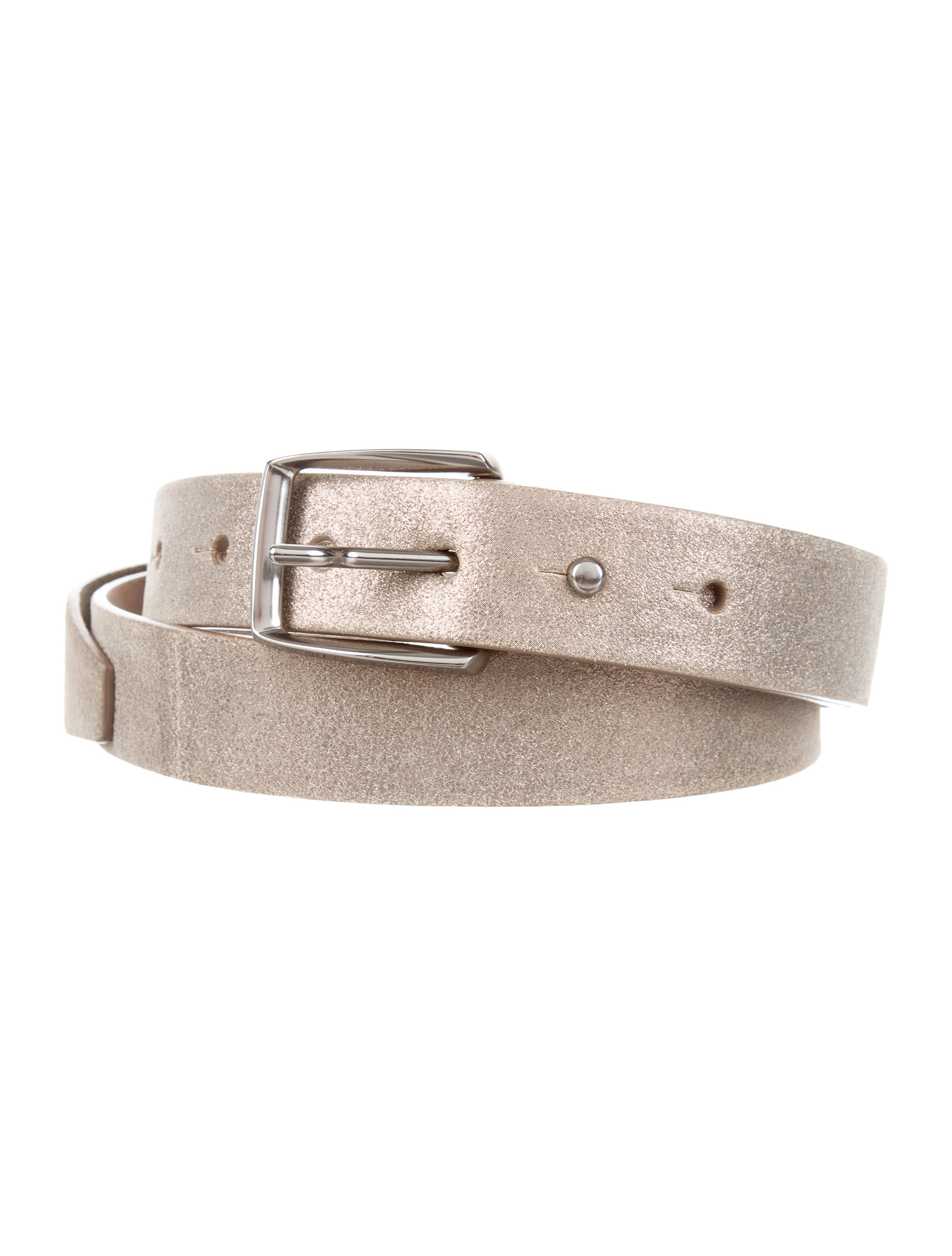 brunello cucinelli metallic leather belt w tags