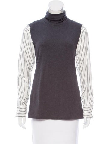 Brunello Cucinelli Silk-Paneled Long Sleeve Top None