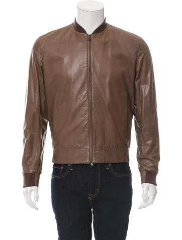 Brunello Cucinelli Leather Rib Knit-Trimmed Jacket w/ Tags None