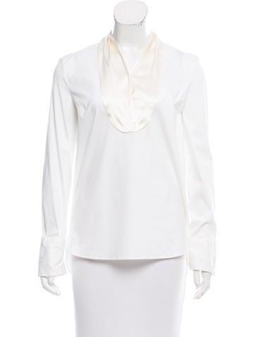 Brunello Cucinelli Silk-Trimmed Long Sleeve Top None