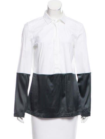 Brunello Cucinelli Silk-Accented Button-Up Top None