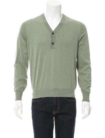 Brunello Cucinelli Henley V-Neck Sweater w/ Tags None