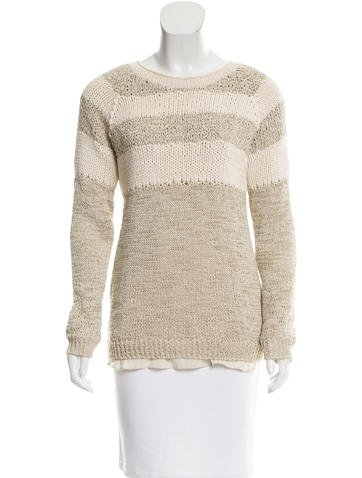 Brunello Cucinelli Striped Rib Knit-Trimmed Sweater None