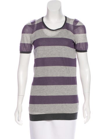 Brunello Cucinelli Striped Short Sleeve Top None