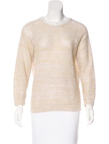 Brunello Cucinelli Embellished Silk-Blend Sweater None