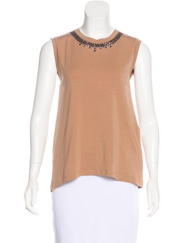 Brunello Cucinelli Embellished Wool-Blend Top None