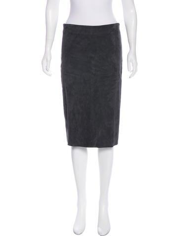 Brunello Cucinelli Leather Midi Skirt None