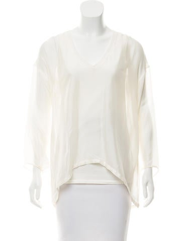 Brunello Cucinelli High-Low Long Sleeve Top None