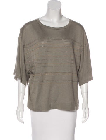 Brunello Cucinelli Embellished Cashmere Top None
