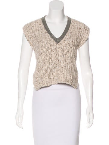 Brunello Cucinelli Cashmere Monili-Accented Top None