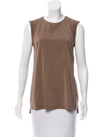 Brunello Cucinelli Monili-Trimmed Silk Top None