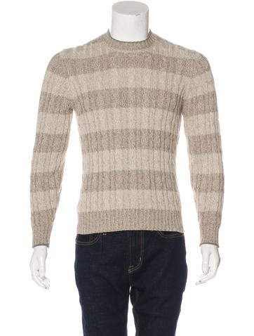 Brunello Cucinelli Striped Cable Knit Sweater None