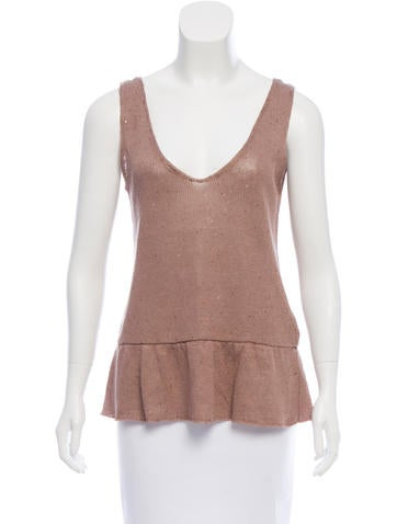 Brunello Cucinelli Linen Embellished Top None