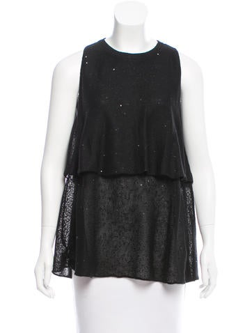 Brunello Cucinelli Embellished Silk & Linen Top w/ Tags None