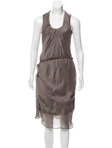 Brunello Cucinelli Belted Silk Dress None