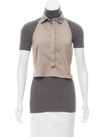 Brunello Cucinelli Monili-Trimmed Short Sleeve Top None