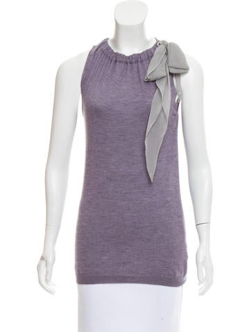 Brunello Cucinelli Cashmere Tie-Accented Top None