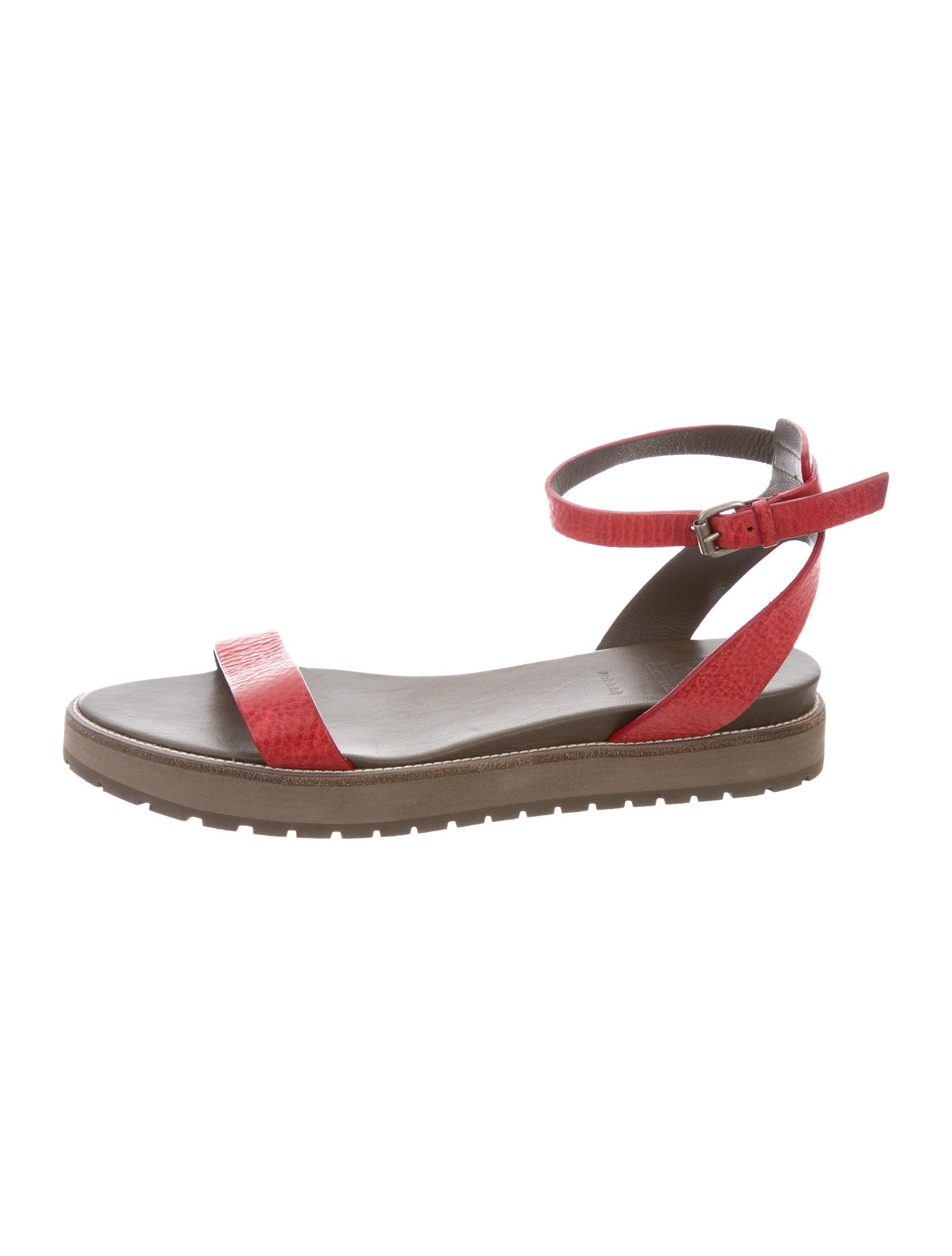 Brunello Cucinelli Leather Wedge Sandals w/ Tags sale vydkYcOi4