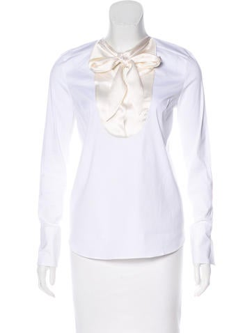 Brunello Cucinelli Silk-Trimmed Long Sleeve Top None