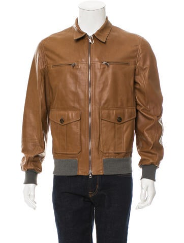 Brunello Cucinelli Knit-Trimmed Leather Jacket w/ Tags None
