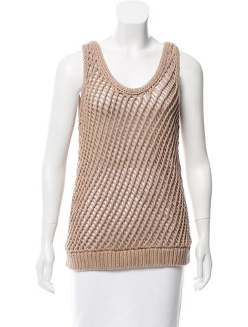 Brunello Cucinelli Sleeveless Open Knit Top w/ Tags None