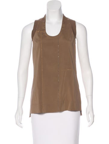 Brunello Cucinelli Silk Metallic Top None