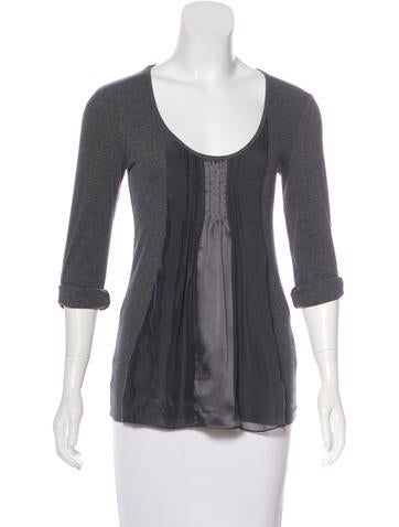 Brunello Cucinelli Silk-Trimmed Rib Knit Top None